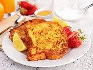 Рецепта Печени филийки (френски тост) с яйца, кисело мляко и сода (бакпулвер) печени на фурна
